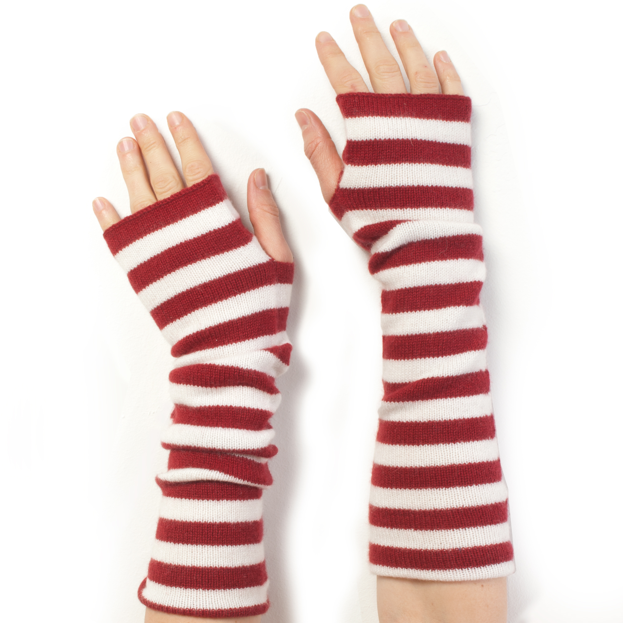 Stripey Wristwarmers - 100% Cashmere - Rio Red/White