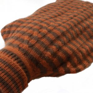 Cashmere Hot Water Bottle Cover - Stripey - Gingerbread/Sepia