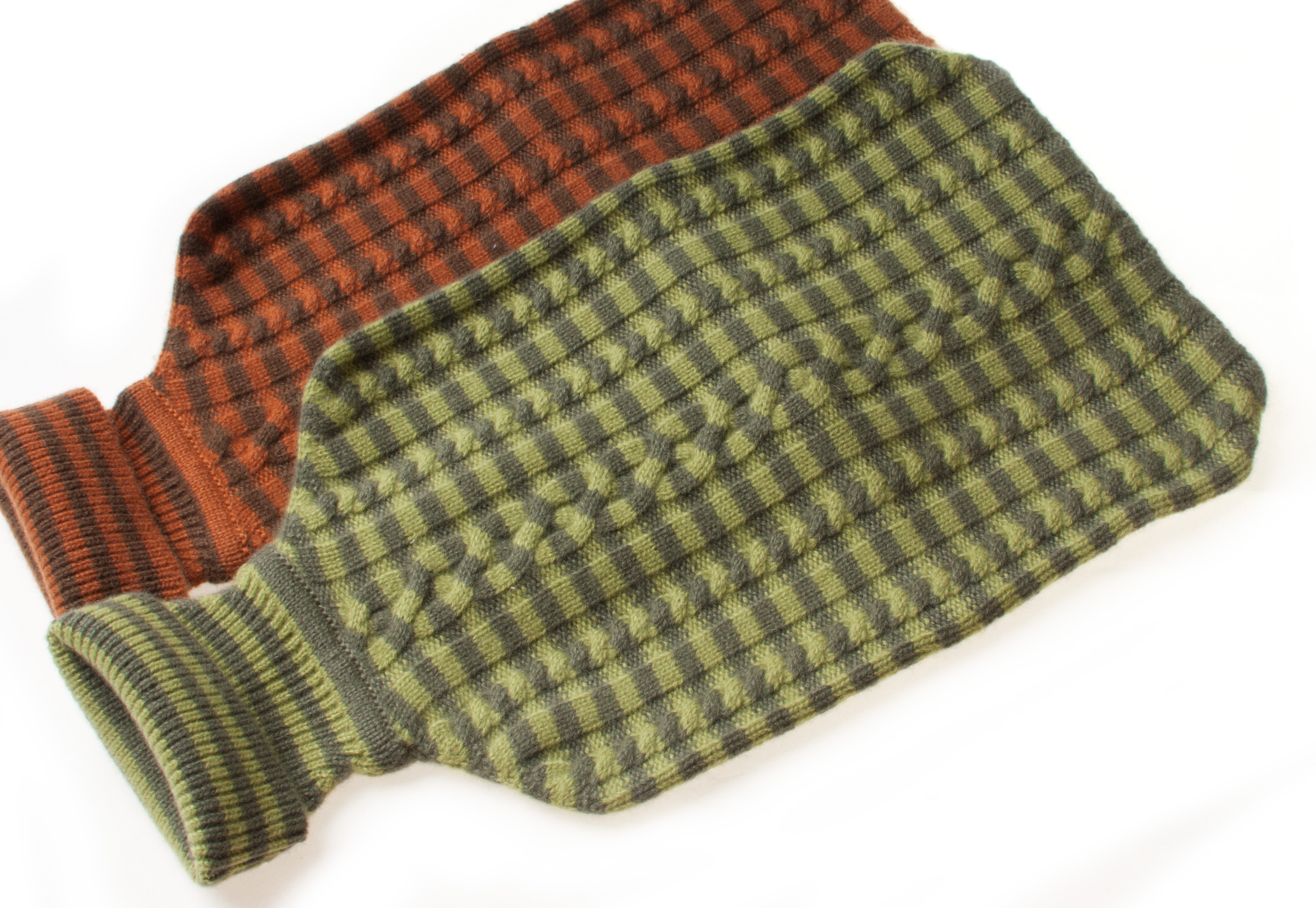 Cashmere Hot Water Bottle Cover - Stripey - Grape Leaf / Woodbine