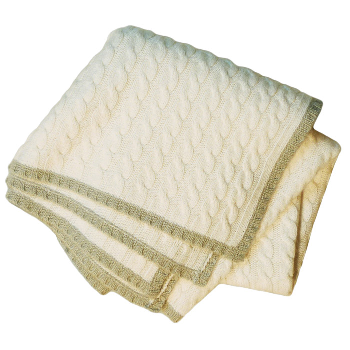 7919294849b Buy Cable Knit Baby Blanket - 80x80cm - 100% Cashmere - White/Sea ...