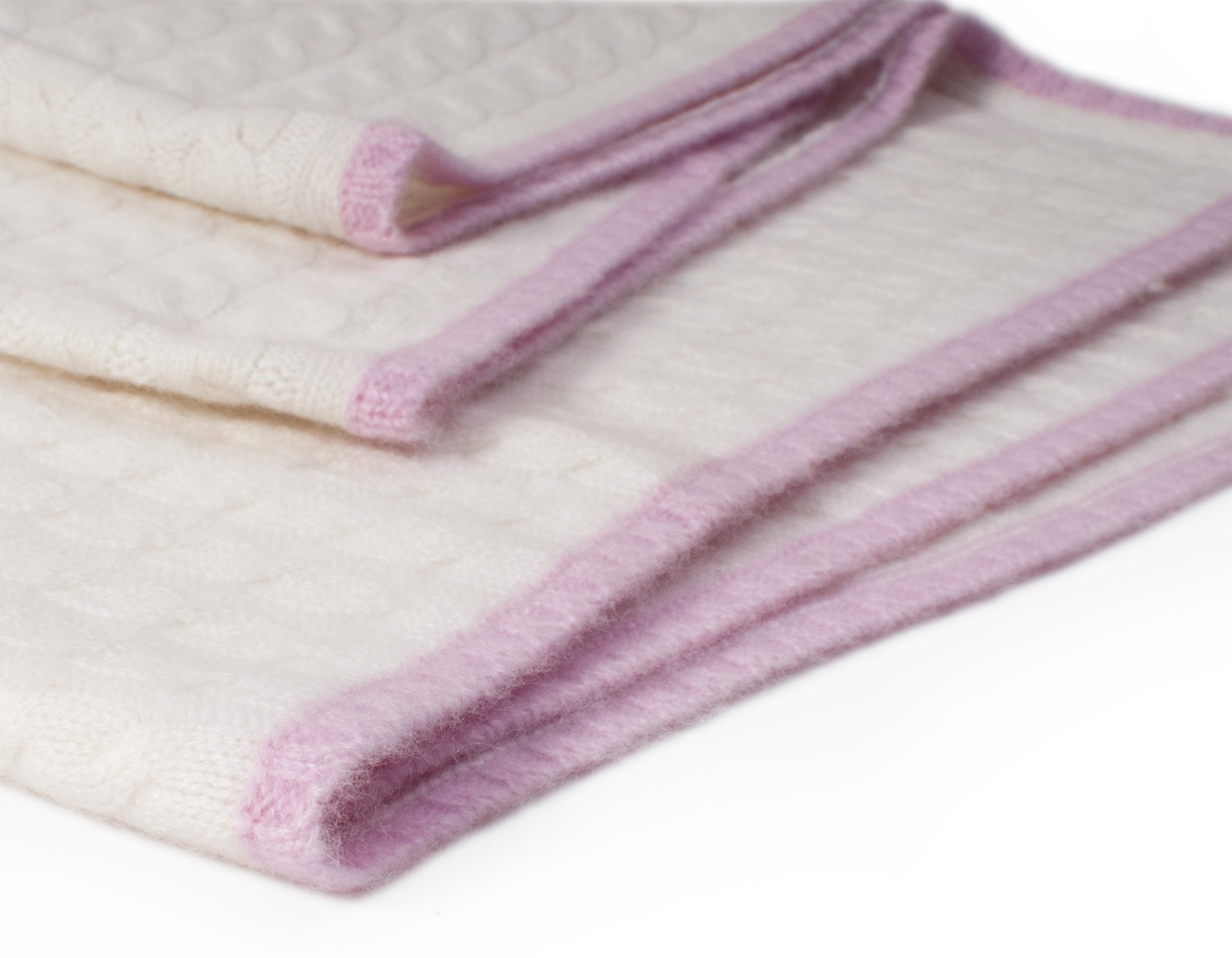 1ebb210ce3e Buy Cable Knit Baby Blanket - 80x80cm - 100% Cashmere - White/Pink ...