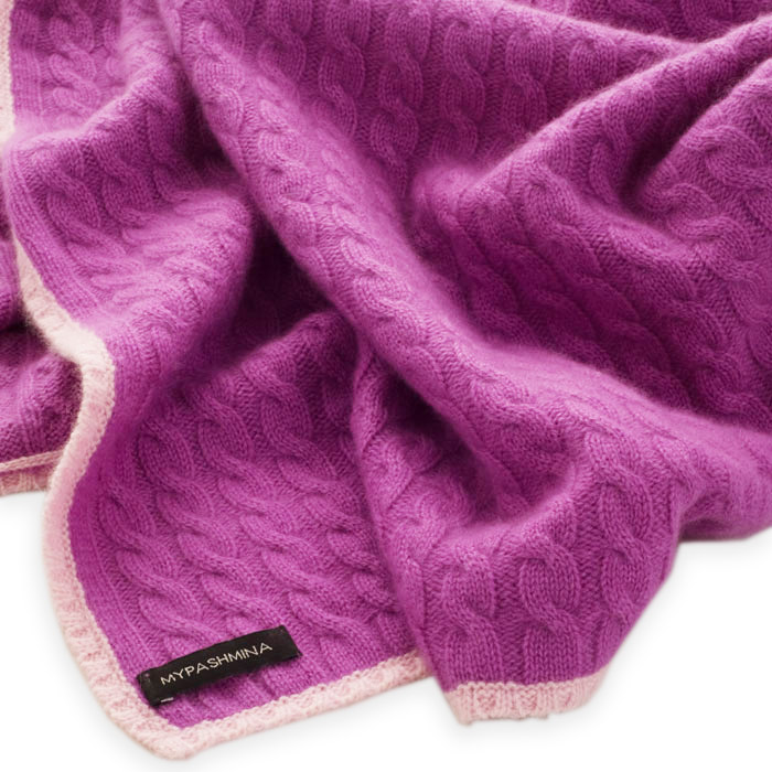 ba8d9d7ffe7 Cable Knit Baby Blanket – 80x80cm – 100% Cashmere – Amethyst/Pink Lady