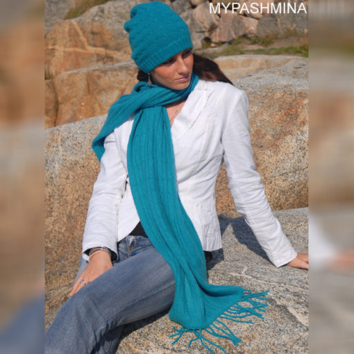 Cable Knit Scarf - 100% Cashmere - 35x180cm - White
