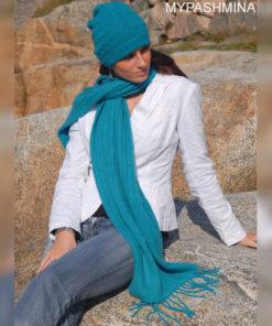 Cable Knit Scarf - 100% Cashmere - 35x180cm - Parisian Blue