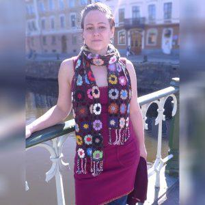 Crochet Knit Scarf - 100% Cashmere - 25x150cm - HKF227