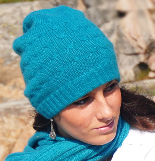 Cabled Hat - 100% Cashmere - Papaya