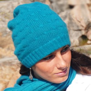 Cabled Hat - 100% Cashmere - Parisian Blue