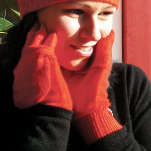 Ladies Cashmere On/Off Gloves - 100% Cashmere - Melange Red mp543