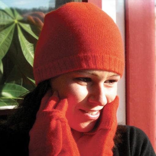 Ribbed Hem Hat - 100% Cashmere - Melange Dark Grey