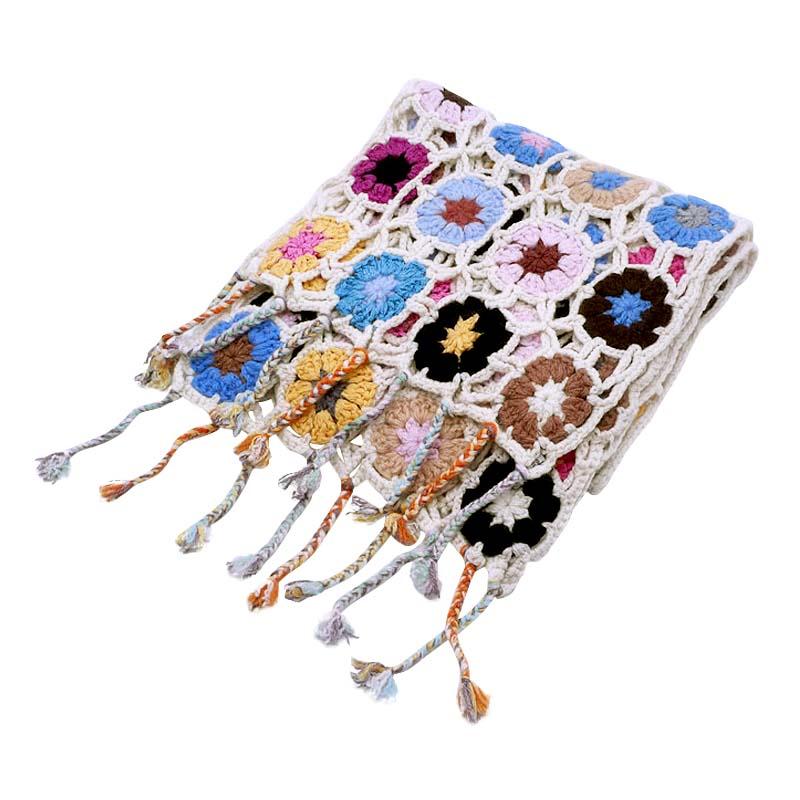 Crochet Knit Scarf - 100% Cashmere - 25x150cm - HKF03