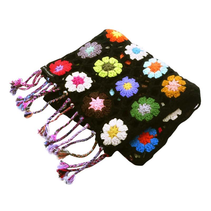 Crochet Knit Scarf - 100% Cashmere - 25x150cm - HKF11