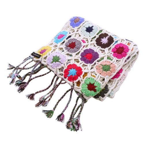 Crochet Knit Scarf - 100% Cashmere - 25x150cm - HKF16
