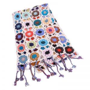 Crochet Knit Scarf - 100% Cashmere - 25x150cm - HKF210