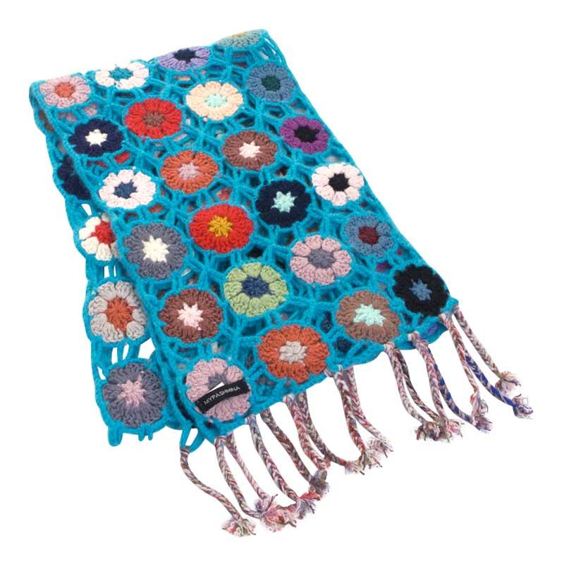 Crochet Knit Scarf - 100% Cashmere - 25x150cm - HKF215