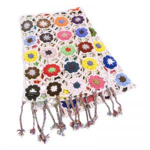 Crochet Knit Scarf - 100% Cashmere - 25x150cm - HKF216