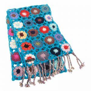 Crochet Knit Scarf - 100% Cashmere - 25x150cm - HKF236