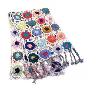 Crochet Knit Scarf - 100% Cashmere - 25x150cm - HKF237