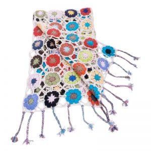 Crochet Knit Scarf - 100% Cashmere - 25x150cm - HKF239