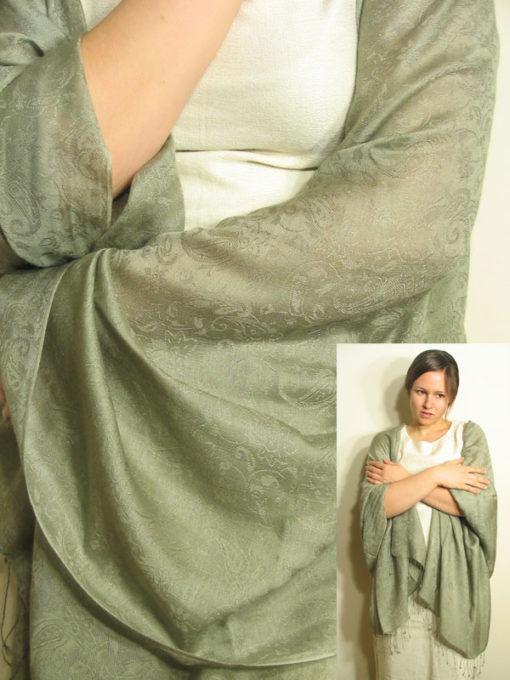 Jacquard Water Pashmina - 70x200cm - 80% Cashmere / 20% Silk - Antique Bronze