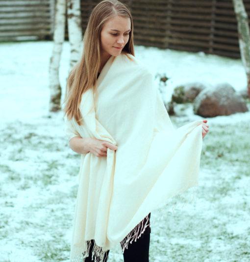 Pashmina Shawl - 90x200cm - 70% Cashmere / 30% Silk - Sand Shell