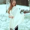 Pashmina Shawl - 90x200cm - 70% Cashmere / 30% Silk - Eggshell Blue