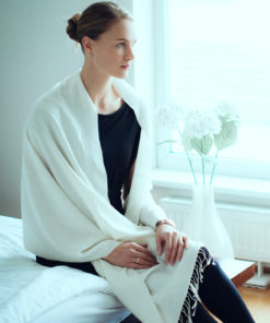 Pure Cashmere Shawl - Natural White