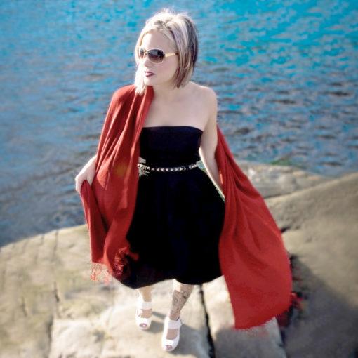 Pashmina Shawl - 90x200cm - 70% Cashmere / 30% Silk - Barn Red