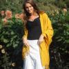 Pashmina Stole - 70x200cm - 70% Cashmere / 30% Silk - Black No Tassels