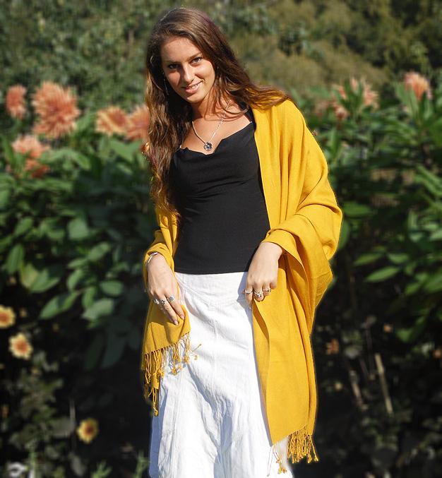 Pashmina Stole - 70x200cm - 70% Cashmere / 30% Silk - Winter White