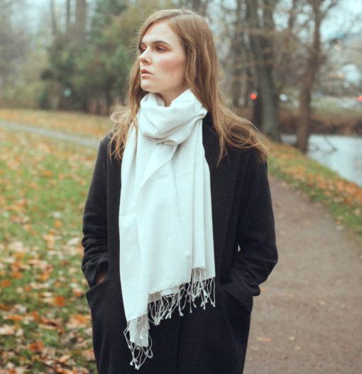 Pashmina Stole - 70x200cm - 100% Cashmere - Winter White