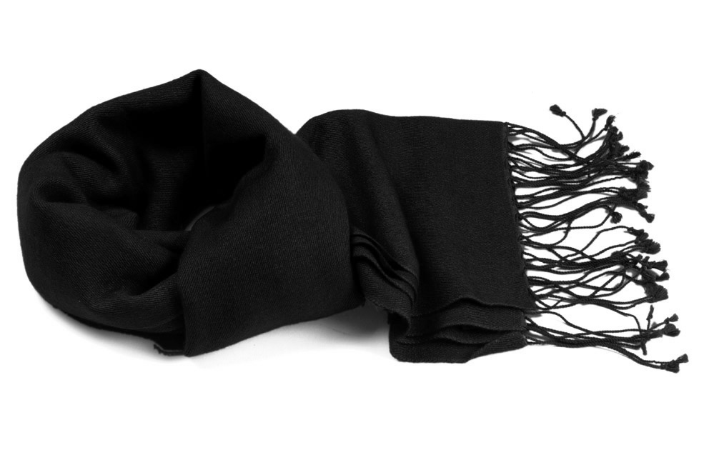 Pashmina Scarf - 30x150cm - 70% Cashmere/30% Silk - Black