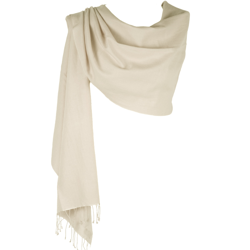 Pure Cashmere Large Scarf - Natural White