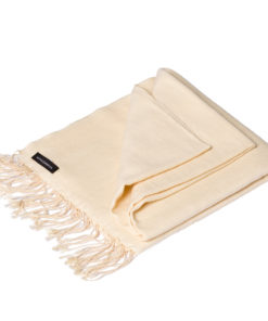 Pashmina Large Scarf - 45x200cm - 70% Cashmere/30% Silk - Winter White
