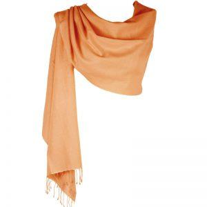 Pashmina Large Scarf - 45x200cm - 70% Cashmere/30% Silk - Peach Nectar