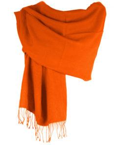 Pashmina Large Scarf - 45x200cm - 70% Cashmere/30% Silk - Harvest Pumpkin