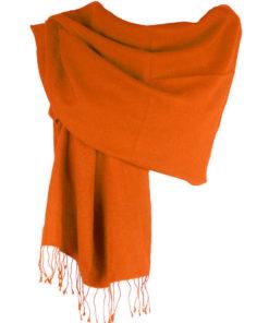 Pashmina Large Scarf - 45x200cm - 70% Cashmere/30% Silk - Spicy Orange