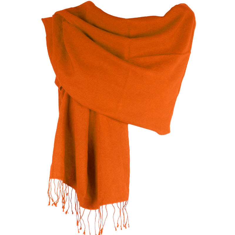 Pashmina Large Scarf - 45x200cm - 70% Cashmere/30% Silk - Spicy Orange
