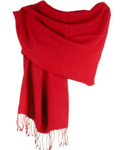 Pashmina Large Scarf - 45x200cm - 70% Cashmere/30% Silk - Fiery Red