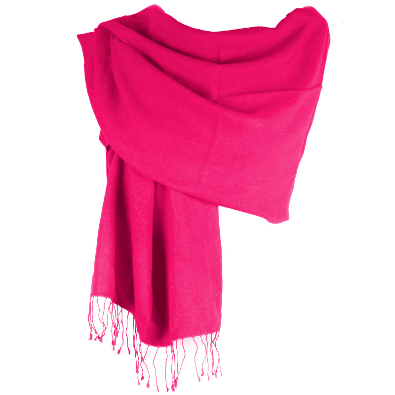 Pashmina Large Scarf - 45x200cm - 70% Cashmere/30% Silk - Bright Rose