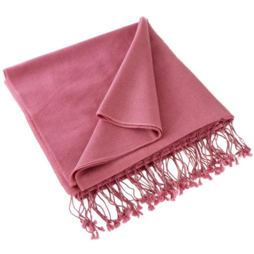 Pashmina Large Scarf - 45x200cm - 70% Cashmere/30% Silk - Red Violet