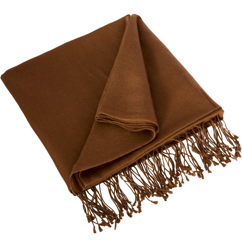 Pashmina Large Scarf - 45x200cm - 70% Cashmere/30% Silk - Cocoa Brown