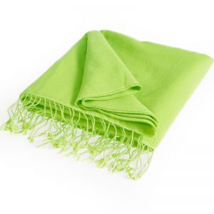 Pashmina Large Scarf - 45x200cm - 70% Cashmere/30% Silk - Lime Green