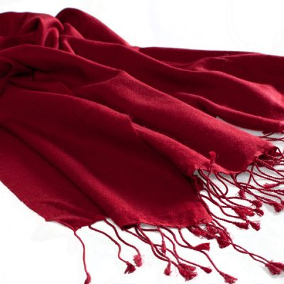 Pashmina Large Scarf - 45x200cm - 70% Cashmere/30% Silk - Rio Red