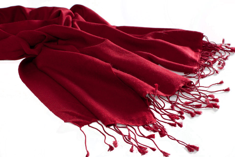 Pashmina Large Scarf - 45x200cm - 70% Cashmere/30% Silk - Rio Red