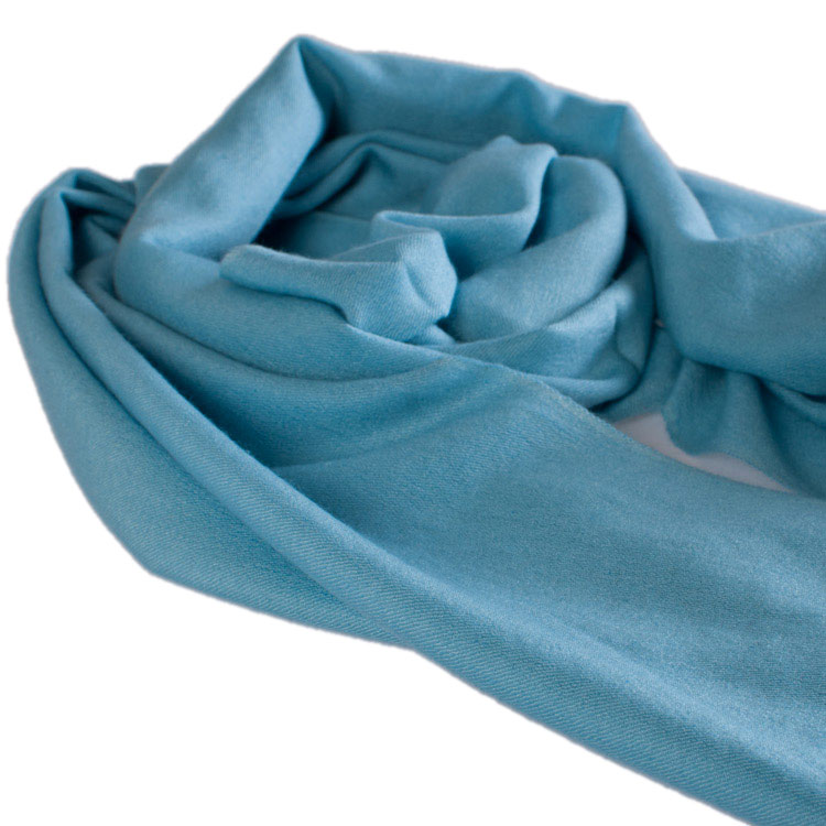Pashmina Large Scarf - 45x200cm - 70% Cashmere/30% Silk - Milky Blue