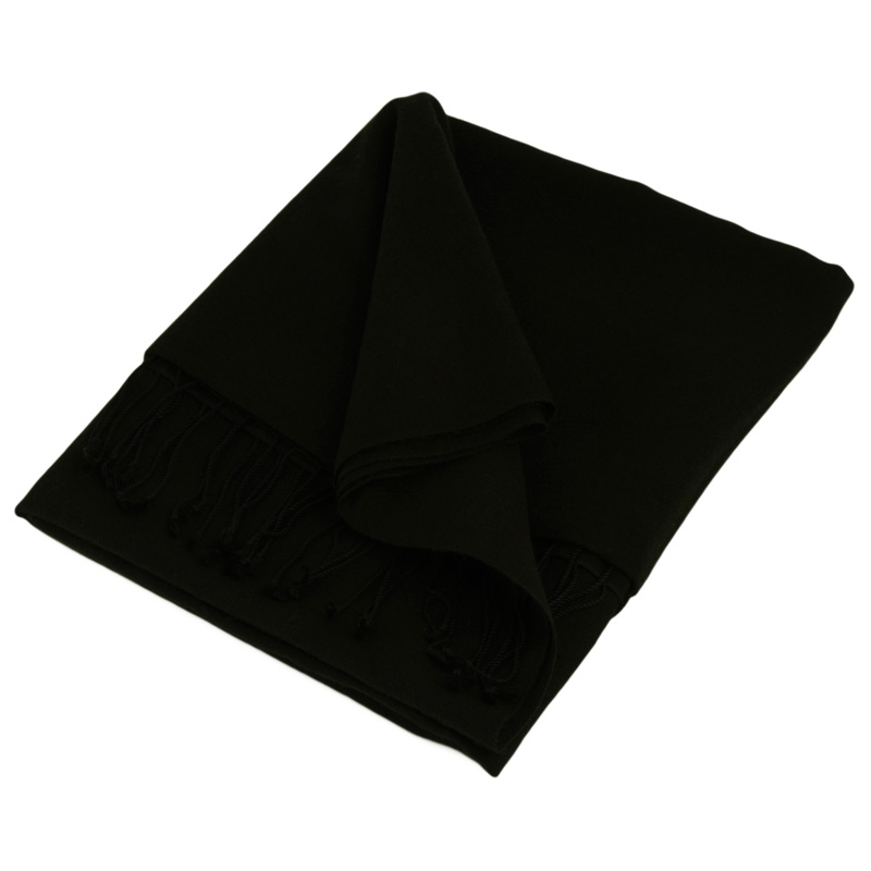 Pashmina Medium Stole - 55x200cm - 70% Cashmere/30% Silk - Black