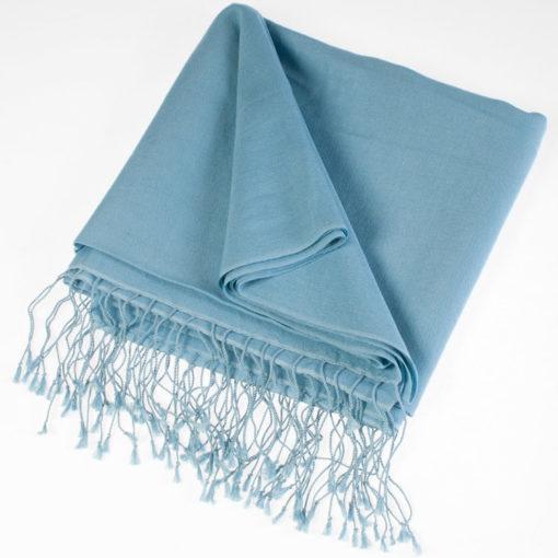 Pashmina Stole - 70x200cm - 70% Cashmere / 30% Silk - Milky Blue