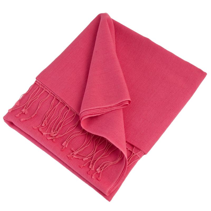 Pashmina Shawl - 90x200cm - 70% Cashmere / 30% Silk - Hot Pink