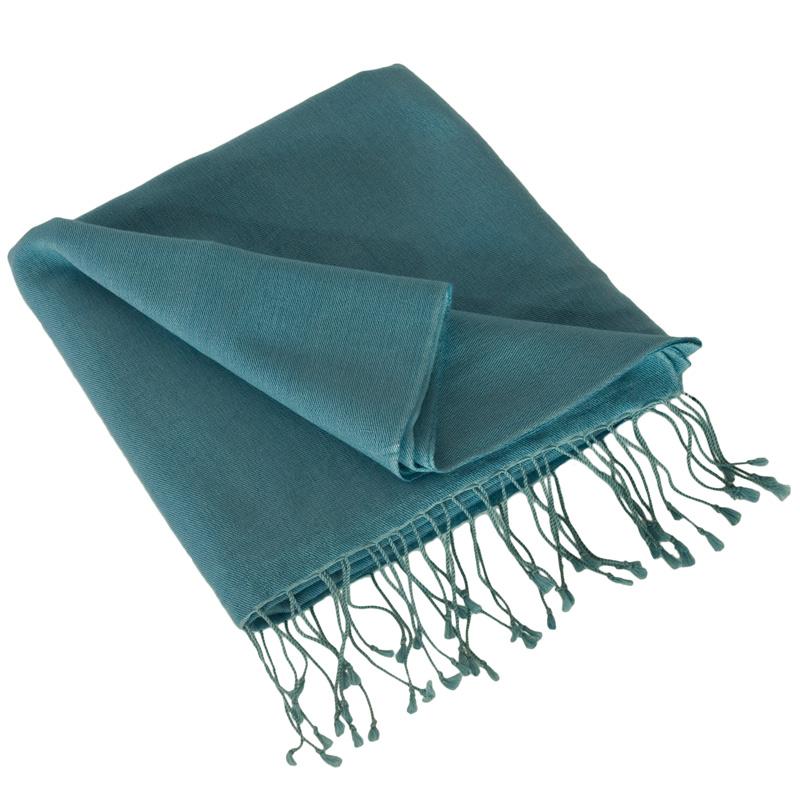Pashmina Shawl - 90x200cm - 70% Cashmere / 30% Silk - Adriatic Blue