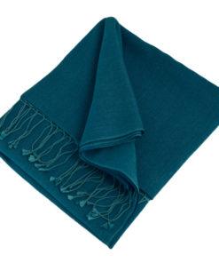 Pashmina Shawl - 90x200cm - 70% Cashmere / 30% Silk - Deep Water
